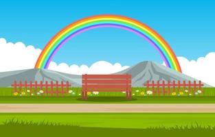 mooie regenboog in park zomer natuur landschap illustratie vector