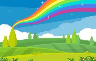 mooie regenboog in de zomer natuur landschap landschap illustratie vector