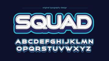 witte en blauwe 3d typografie van het spellogo vector