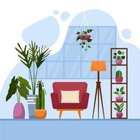 tropische kamerplant groene decoratieve plant interieur huis illustratie