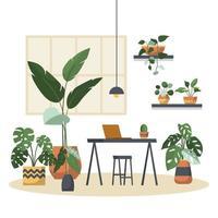 tropische kamerplant groene decoratieve plant in kantoor werkruimte illustratie vector