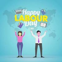 twee karakter werknemer gelukkige dag van de arbeid ontwerp vector