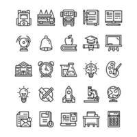 set van terug naar school pictogrammen met lijnstijl. vector