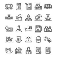 set van olie-industrie iconen met lijn kunststijl. vector