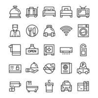 set hotel iconen met lijn kunststijl. vector
