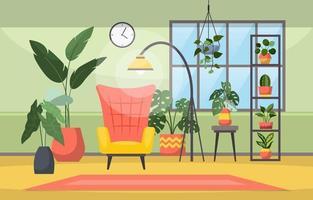 tropische kamerplant groene decoratieve plant in woonkamer illustratie vector