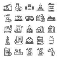 set van olie-industrie iconen met lijn kunststijl vector