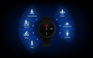 fitness tracker interface ui pictogram, achtergrond, sport stappenteller, slimme horloge vector sjabloon