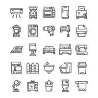 set van huishoudelijke pictogrammen met lijn kunststijl. vector