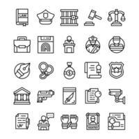 set van Justitie iconen met lijn kunststijl.