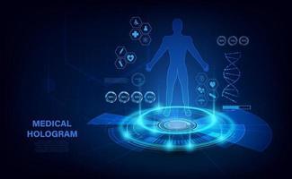 medisch hologram met lichaam, onderzoek in hud-stijl. modern futuristisch onderzoeksgezondheidsconcept met hologram menselijk lichaam en gezondheidsindicatoren. röntgenfoto. vector