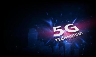 abstracte 5g nieuwe draadloze internetverbinding achtergrond. wereldwijd netwerk hogesnelheidsnetwerk. 5g-symbool op de achtergrond.