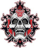 gotisch bord met schedel, grunge vintage ontwerpt-shirts vector