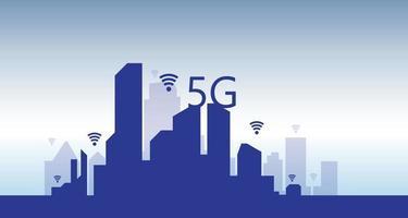 vector 5g en iot-bestemmingspagina met afbeeldingen van digitale communicatie van toekomstige technologie. website sjabloon voor internetsnelheid concept