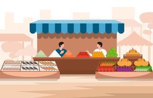 gezonde fruit groente winkel kraam staan kruidenier in stad illustratie vector