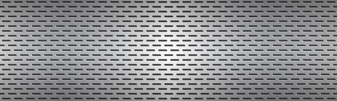 gestructureerde zilveren geperforeerde metalen textuur header. aluminium rooster. abstracte metalen banner. vector illustratie