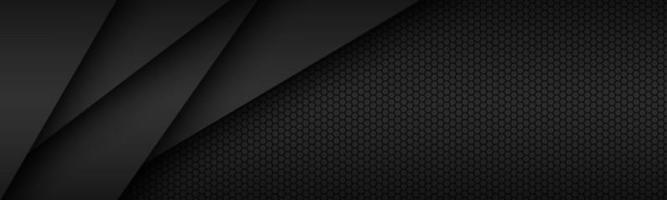 zwart modern materiaalontwerp met zeshoekig patroon, donkere overlay-vellen papier, bedrijfssjabloon voor uw bedrijf, vector abstracte breedbeeldachtergrond