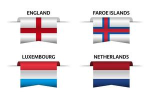 set van vier Engelse, Faeröer, Luxemburgse en Nederlandse linten. made in england, made in faroe, made in luxembourg en made in nederland stickers en labels. vector eenvoudige pictogrammen met vlaggen