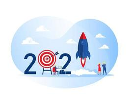 2021 gelukkig nieuwjaar, mensen lanceren ruimteschip raket zakelijk project opstarten cocept vector illustrator