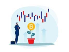 bedrijfsstrategie analyse aandelenmarkt met bitcoin opwaartse groei vector illustrator.