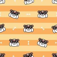 schattige Engelse bulldog cartoon naadloze patroon, vectorillustratie