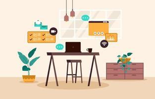werk vanuit huis computer internet online zaken freelancer illustratie vector