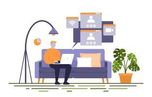 mensen werken vanuit huis internet online zaken freelancer illustratie