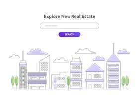 Real Estate Landing Page Vector sjabloon