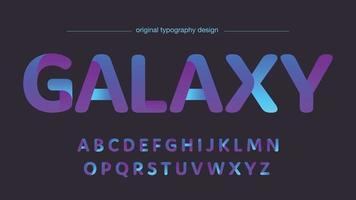 paars en neonblauw futuristische afgeronde vormen geïsoleerd lettertype vector