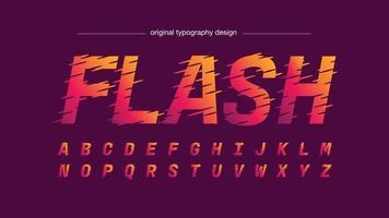 neon warme kleuren cursief sportbewegingseffect geïsoleerd lettertype vector