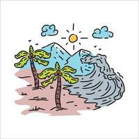 illustratie landschap strand ontwerp vector op witte achtergrond