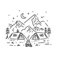 kamperen in berg monoline ontwerp illustratie vector