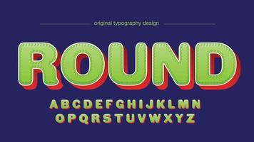 groen en rood leuk afgerond cartoon 3D-geïsoleerde lettertype vector