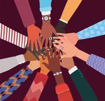 diversiteitsconcept met interraciale handen die elkaar aanraken en begroeten vector
