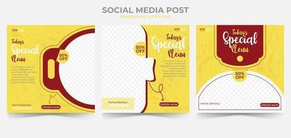 eten en restaurant menu banner sociale media plaatsen. set bewerkbare social media-sjabloon voor promotie. vector