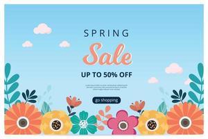 hallo lente verkoop banner met bloesem bloei. verkoop banner. vector illustratie. hand getekend.