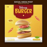 eten en restaurant menu banner sociale media plaatsen. bewerkbare social media-sjabloon voor promotie. illustratie vector met realistische hamburger