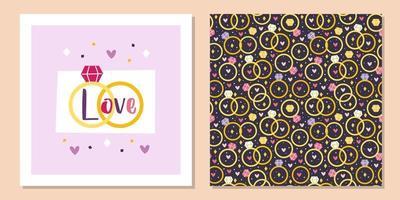 Valentijnsdag wenskaart sjabloonontwerp. trouwringen, sieraden. relatie, voorstel. naadloze patroon, textuur, papier, verpakking. vector