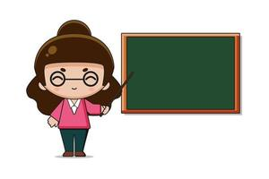 schattige leraar mascotte karakter illustratie vector