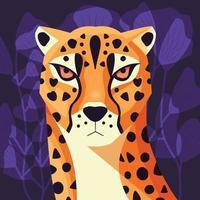kleurrijk portret van mooie cheetah op paarse achtergrond. hand getekend wild dier. grote kat. vector