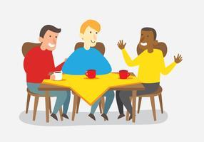 Vrienden praten na het eten