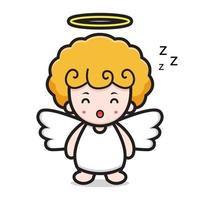 schattige engel stripfiguur slapen vector
