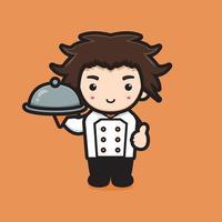 schattige chef-kok karakter houden hete plaat cartoon vector pictogram illustratie