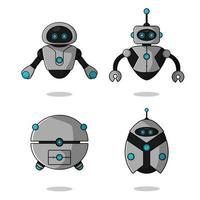 schattige vliegende robot mascotte set vector