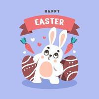plat gelukkig konijntje op paasdag achtergrond vector