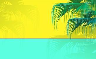 tropische chinese ventilatorpalm op heldere neon gele en groen-muntachtergrond in zonnige dag. vintage retro minimale achtergrond met ruimte voor tekst vector