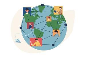 communicatie via internet sociale netwerken over de hele wereld vector