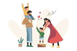 gelukkige familie moeder vader dochter zoon hand in hand en knuffelen vector