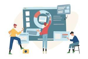 kantoormedewerkers bestuderen infographics en analyseren de evolutionaire schaal
