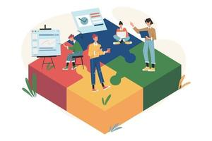 teamwerk verbindende puzzelelementen vector